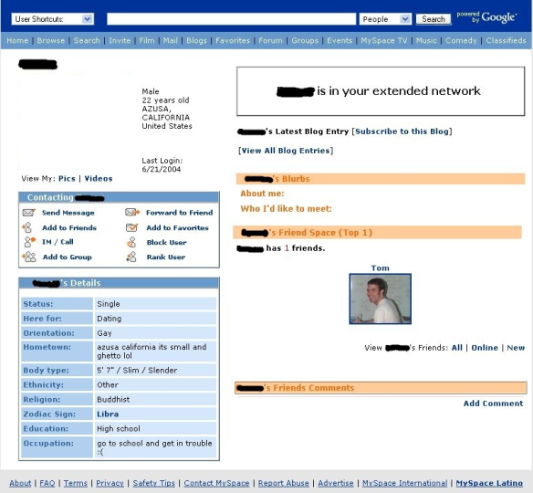 MySpace c. 2008